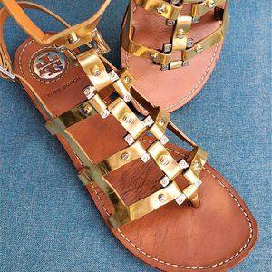 Tory Burch Vaughn Gold Gladiator Sandals